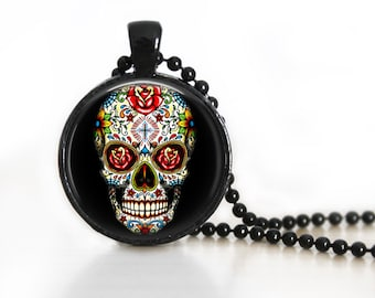 Sugar Skull Glass Pendant, Photo Glass Necklace, Glass Keychain