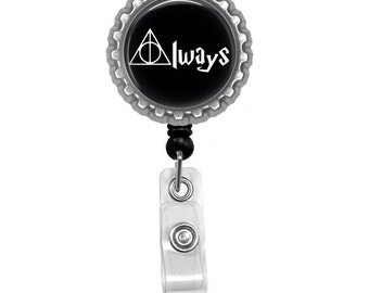 Always Photo Glass/ Bottle Cap Retractable ID Badge Reel, Nurse Badge Reel