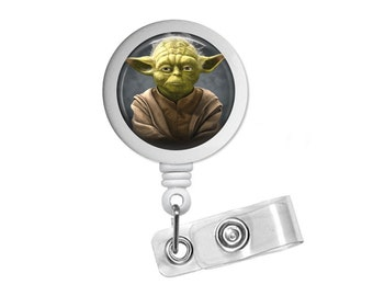 Star Wars Yoda Photo Glass/ Bottle Cap Retractable ID Badge Reel