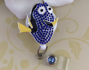 Rhinestone Dory Finding Nemo Retractable ID Badge Reel, Nurse Badge Reel