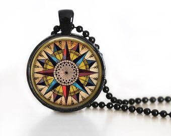 Nautical Mariners Compass Glass Pendant, Photo Glass Necklace, Glass Keychain, Glass Jewelry