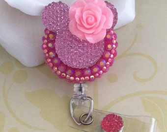 Rhinestone Pink Mouse Ears With A Nurse Hat /Rose/ Bow Retractable ID Badge Reel, Nurse Badge Reel, Choose From 3 Different Design