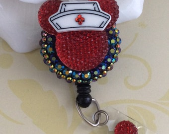 Rhinestone Red Mouse Ears With Or Without Nurse Hat Retractable ID Badge Reel, Nurse Badge Reel
