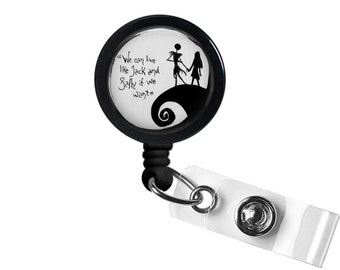 Jack And Sally Nightmare Before Christmas Quote Photo Glass / Bottle Cap Retractable ID Badge Reel