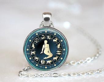Zodiac Signs Virgo Glass Pendant/Necklace/Keychain