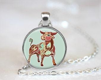 Zodiac Signs Taurus Glass Pendant, Photo Glass Necklace, Glass Keychain, Glass Jewelry