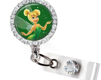 Rhinestone Fairy Tinkerbell 2 Bottle Cap Retractable ID Badge Reel, Nurse Badge Reel, 8 Colors To Choose From