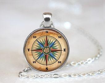 Mariners Compass Glass Pendant, Photo Glass Necklace, Glass Keychain, Glass Jewelry