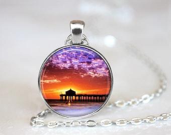 Sunset 2 Glass Pendant, Photo Glass Necklace, Glass Keychain, Glass Jewelry