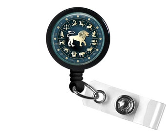 Zodiac Sign Leo Photo Glass/ Bottle Cap Retractable ID Badge Reel
