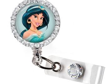 Rhinestone Princess Jasmine Bottle Cap Retractable ID Badge Reel, Nurse Badge Reel, 8 Colors To Choose From