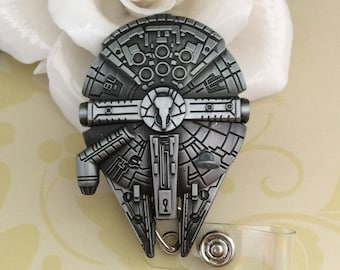 Spaceship Millenium Falcon Retractable ID Badge Reel, Nurse Badge Reel