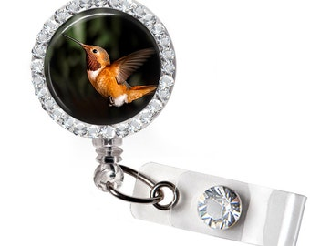 Rhinestone Hummingbird 03 Bottle Cap Retractable ID Badge Reel, Nurse Badge Reel, 8 Colors To Choose From