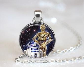 R2D2 C3PO Star Wars Inspired Glass Pendant, Photo Glass Necklace, Glass Keychain, Glass Jewelry