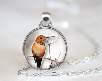 Hummingbird 2 Glass Pendant/Necklace/Keychain