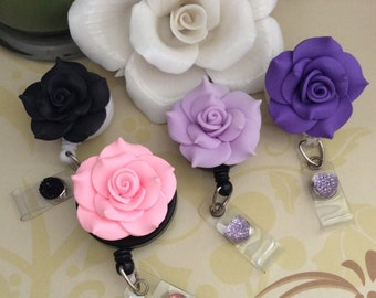 Large Polymer Clay Rose Retractable ID Badge Reel, Nurse Badge Reel, 4 Colors To Choose From