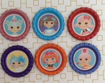 Lalaloopsy Inspired Bottle Caps Necklace/Keychain/Zipper Pull