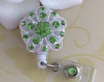 Green Rhinestones Crystals Flower Bling Retractable ID Badge Reel
