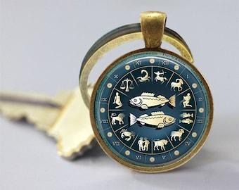 Zodiac Sign Pisces Photo Glass Pendant/Necklace/Keychain