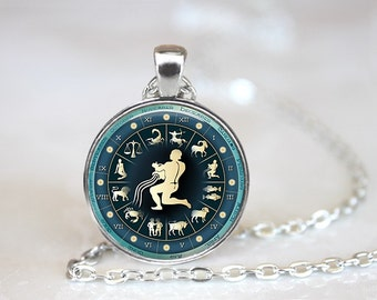 Zodiac Signs Aquarius Glass Pendant/Necklace/Keychain