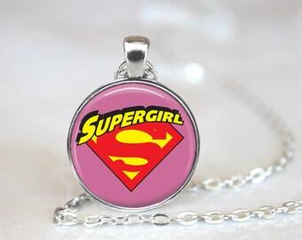 Super Girl Logo Symbol DC Glass Pendant, Photo Glass Necklace, Glass Keychain