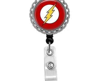 Flash Logo Symbol DC Photo Glass / Bottle Cap Retractable ID Badge Reel