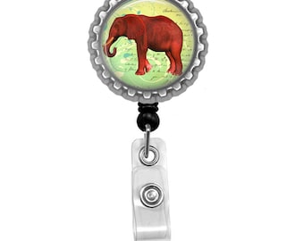 Red Elephant Photo Glass / Bottle Cap Retractable ID Badge Reel
