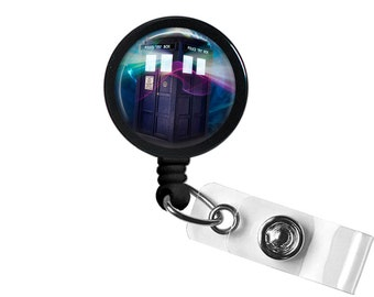 Tardis Photo Glass / Bottle Cap Retractable ID Badge Reel