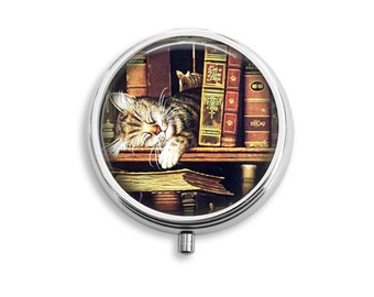 Old Books And A Sleeping Cat Pill Box, Pill Case, Pill Container, Mints Container, Trinkets Box, Jewelry Box (P034)