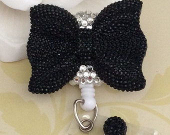 Rhinestone Large Black Bow Retractable ID Badge Reel, Nurse Badge Reel