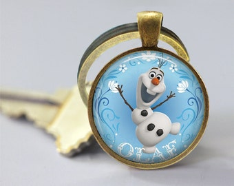 Frozen Olaf Inspired Glass Pendant, Photo Glass Necklace, Glass Keychain