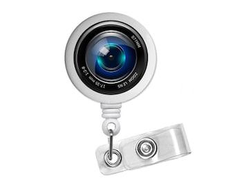 Camera Lens Photo Glass/ Bottle Cap Retractable ID Badge Reel, Nurse Badge Reel