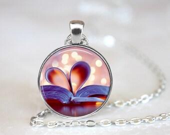 Books Arts Glass Pendant, Photo Glass Necklace, Glass Keychain, Glass Jewelry