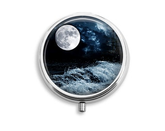 Moon And Clouds Pill Box, Pill Case, Pill Container, Mints Container, Trinkets Box, Jewelry Box (P040)