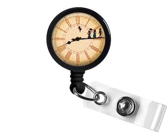 Peter Pan Clock Photo Glass / Bottle Cap Retractable ID Badge Reel