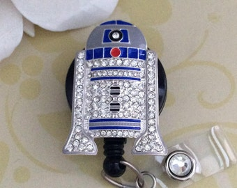 Rhinestone R2D2 Retractable ID Badge Reel, Carabiner Badge Reel, Nurse Badge Reel, Lanyard
