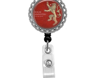 Game Of Thrones House Lannister Photo Glass / Bottle Cap Retractable ID Badge Reel