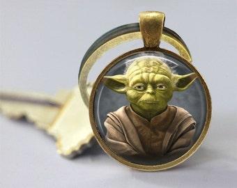 Star Wars Inspired Yoda Glass Pendant/Necklace/Keychain