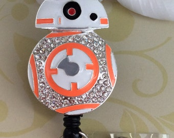Rhinestone BB8 Retractable ID Badge Reel, Nurse Badge Reel