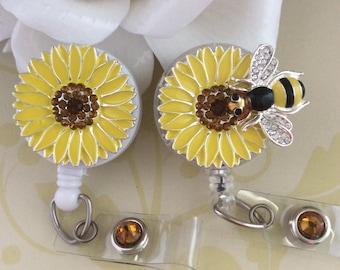 Rhinestones Yellow Sunflower Bee Retractable ID Badge Reel, Nurse Badge Reel