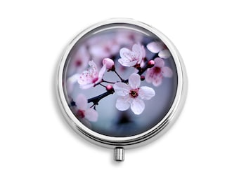 Cherry Blossoms Pill Box, Pill Case, Pill Container, Mints Case, Trinkets Box, Jewelry Box (P005)