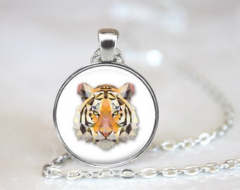 Geometric Tiger Glass Pendant, Photo Glass Necklace, Glass Keychain, Glass Jewelry