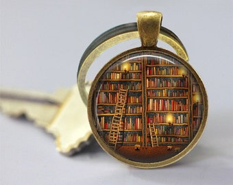 Old Books On The Shelves Glass Pendant, Library Books Photo Glass Necklace, Glass Keychain, Glass Jewelry