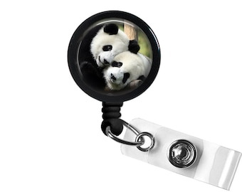 Panda Photo Glass/ Bottle Cap Retractable ID Badge Reel