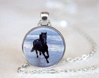 Black Stallion Horse Glass Pendant, Photo Glass Necklace, Glass Keychain, Glass Jewelry