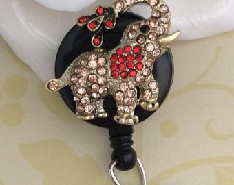 Rhinestone Pink Elephant Retractable ID Badge Reel, Nurse Badge Reel