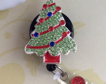 Rhinestone Christmas Tree Retractable ID Badge Reel, Nurse Badge Reel
