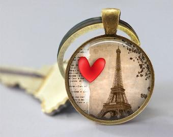 Love Paris Eiffel Tower Glass Pendant, Photo Glass Necklace, Glass Keychain