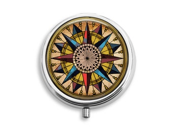 Mariners Compass Pill Box, Pill Case, Pill Container, Mints Case, Trinkets Box, Jewelry Box (P012)