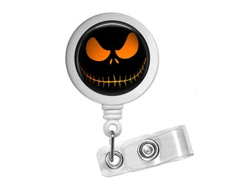 Halloween Jack Skellington Photo Glass/ Bottle Cap Retractable ID Badge Reel, Nurse Badge Reel